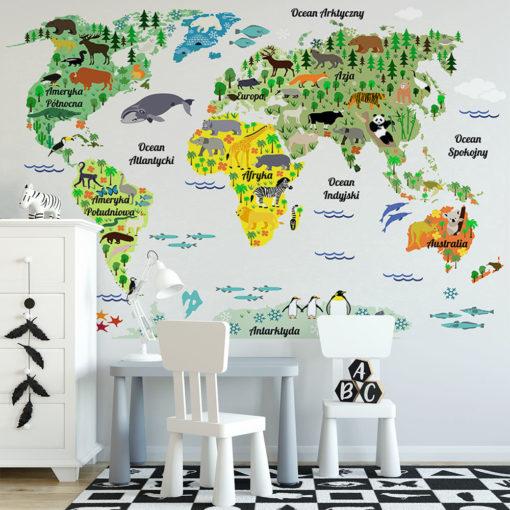 tapeta z mapą zwierząt