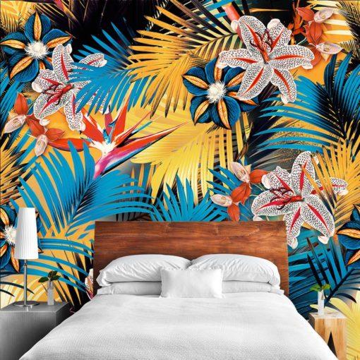 Niebiesko-żółta tapeta do sypialni