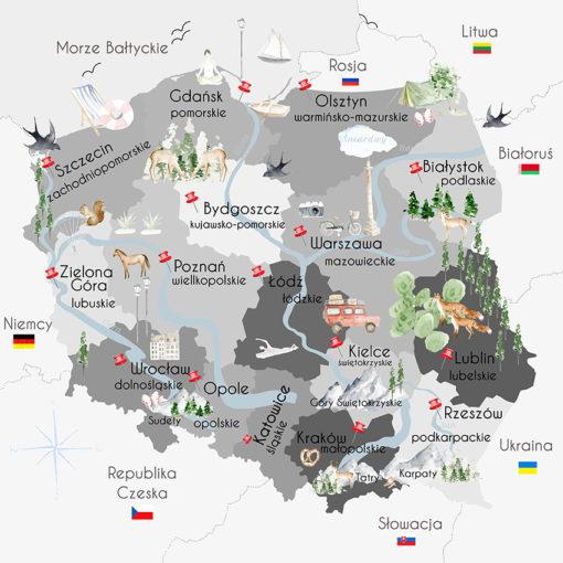 Fototapeta mapa województw