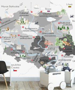 Szara tapeta mapa Polski