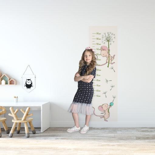 fototapeta z miarką wzrostu na ścianę do pokoju dziecka