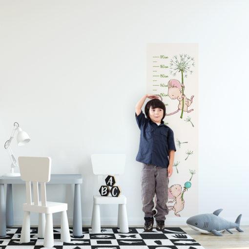 miarka wzrostu z myszka i dmuchawcem na ścianę do pokoju dziecka