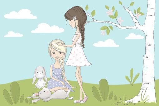 Tapeta dziewczynki i króliczki
