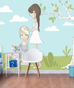 Fototapeta niebieska z motywem dziewczynek