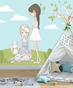 Niebieska fototapeta z dziewczynkami i króliczkami