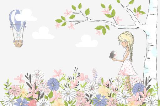 Tapeta z dziewczynką na łące