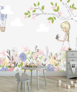 Fototapeta dziewczynka na łące kwiatów