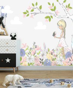 Tapeta szara na ścianę do pokoju dziecka