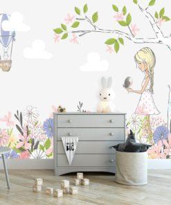Fototapeta dziecięca dziewczynka i kwiaty
