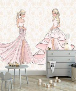 Fototapeta różowa z lalkami