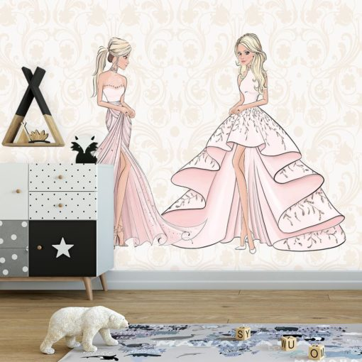 Różowa fototapeta z lalkami