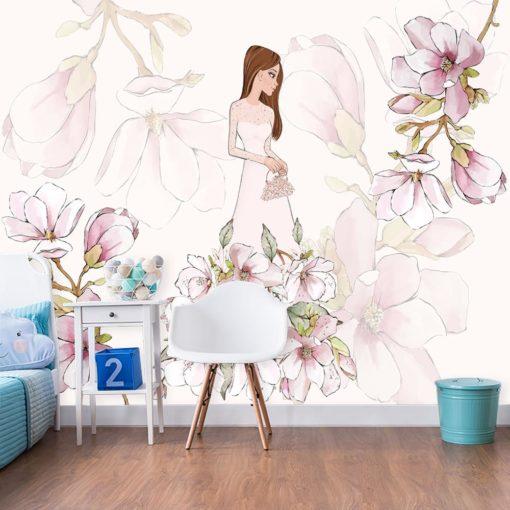 Fototapeta z lalką i kwiatami