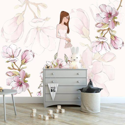 Tapeta na ścianę z motywem lalki i magnolii
