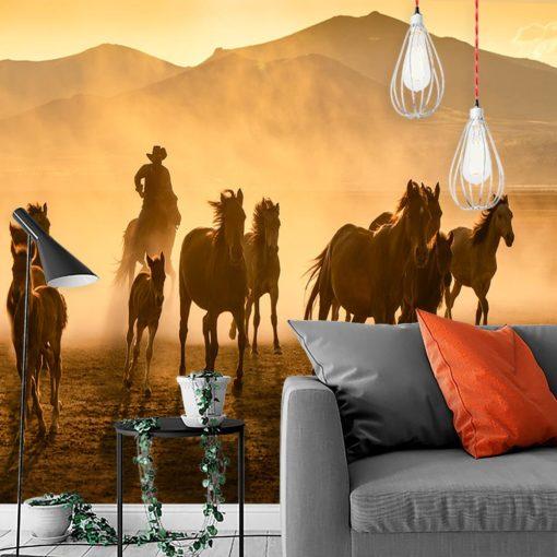 Tapeta konie i kowboj