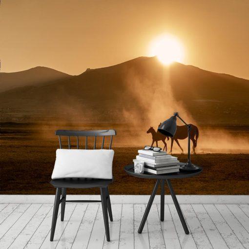 Tapeta dwa konie i zachód słońca