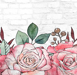 Tapeta kuchenna z różami na tle cegły