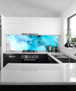 Fototapeta z niebieskimi akwarelami do kuchni
