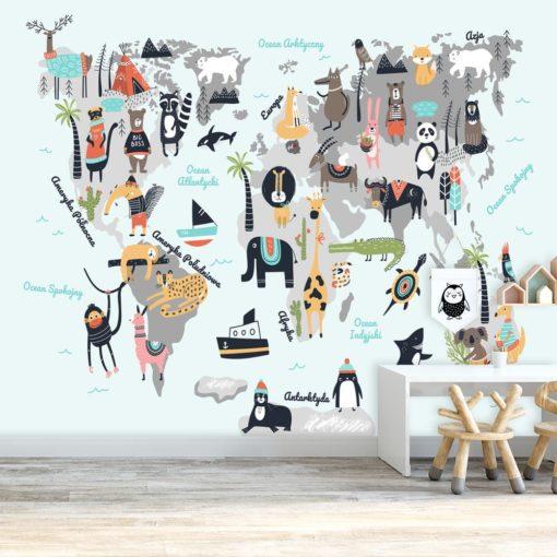 tapeta na ścianę z motywem mapy świata