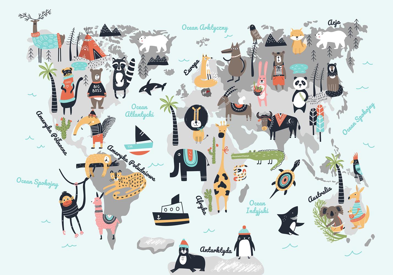 tapeta z motywem mapy świata