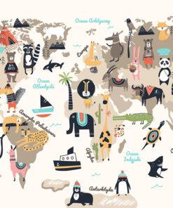 tapeta dziecięca z motywem mapy świata