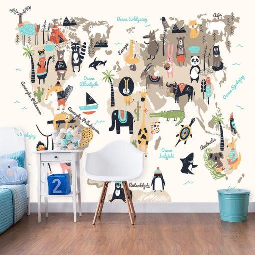 tapeta na ścianę ze zwierzętami