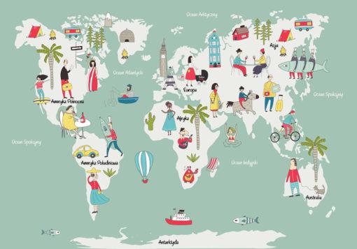 fototapeta z miętową mapą świata