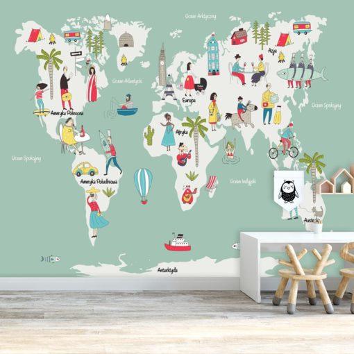 tapeta miętowa z motywem mapy świata