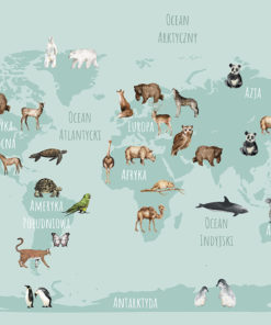 fototapeta z mapą i zwierzętami na ścinie