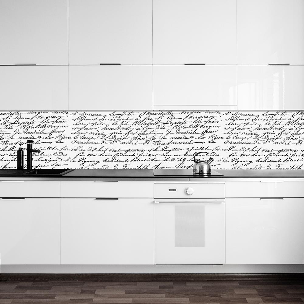 fototapeta z czarno białym napisem