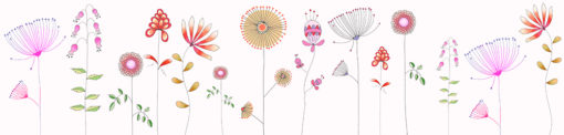 fototapeta kolorowe kwiaty na ścianie