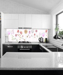 fototapeta kuchenna na ścianie z kwiatami