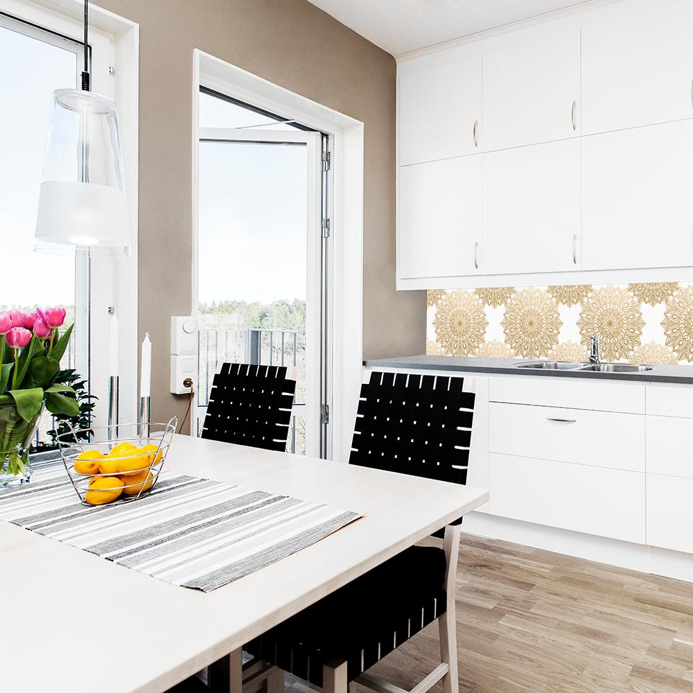 fototapeta z graficznym wzorem kwiatowym do kuchni