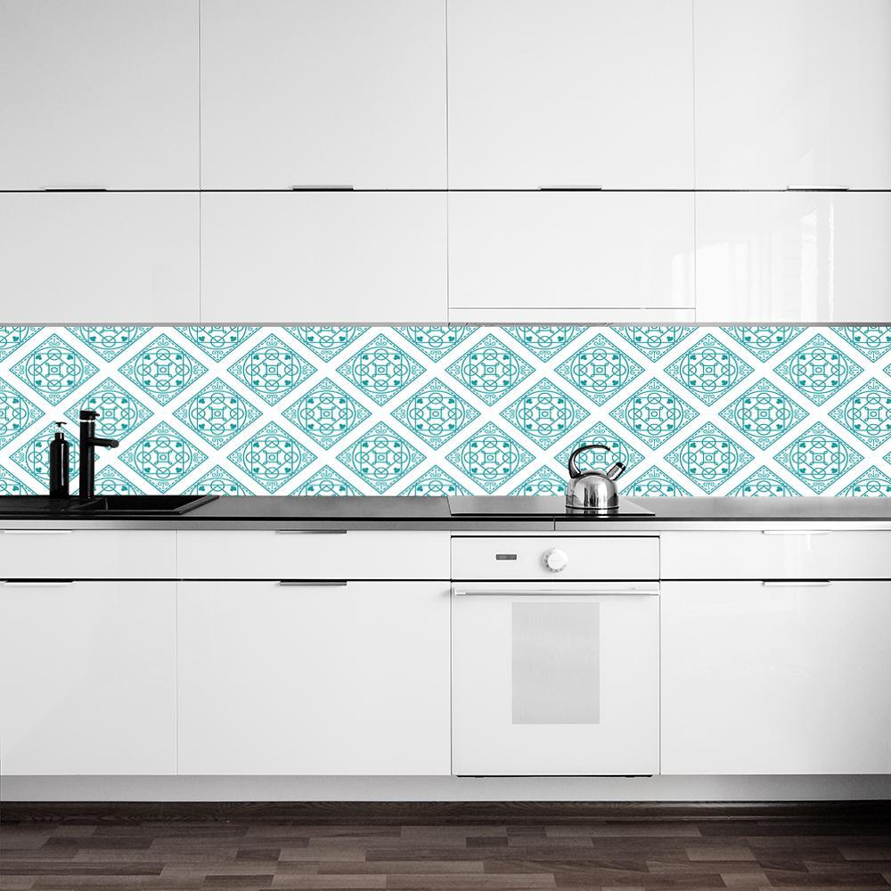 foto-tapeta z miętowymi wzorami do kuchni