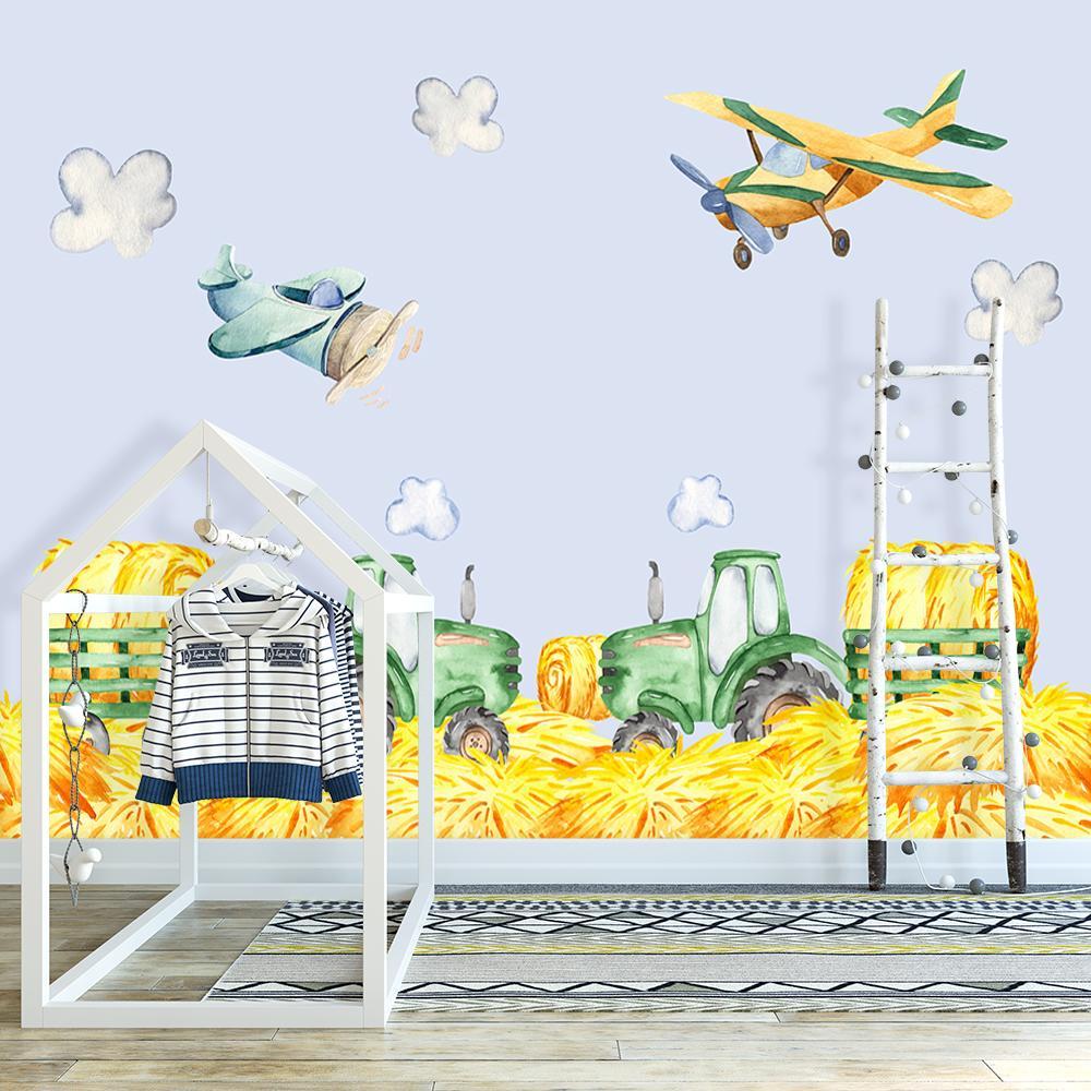 fototapeta traktory i samoloty na ścianę