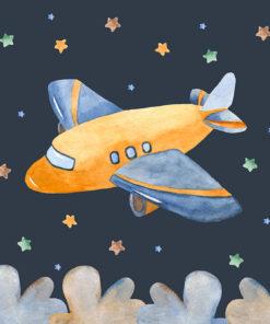 tapeta z samolotem wśród gwiazd na ścianę