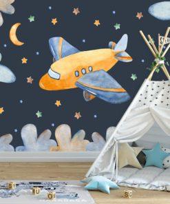 samolot wśród gwiazd nocą na fototapecie na ścianę