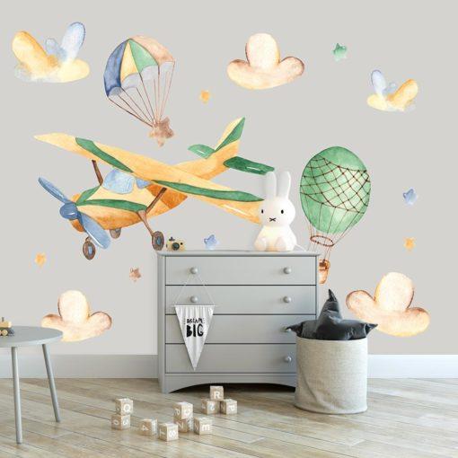 fototapeta z samolotem i balonami na ścianę