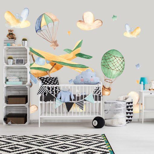 balony i samolot na fototapecie na ścianę