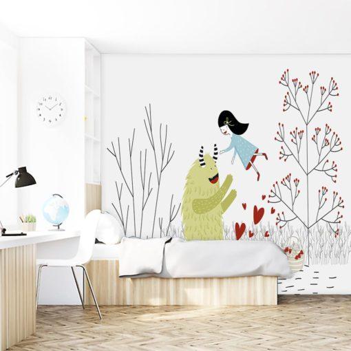 zielony misio i dziewczynka na tapecie na ścianę