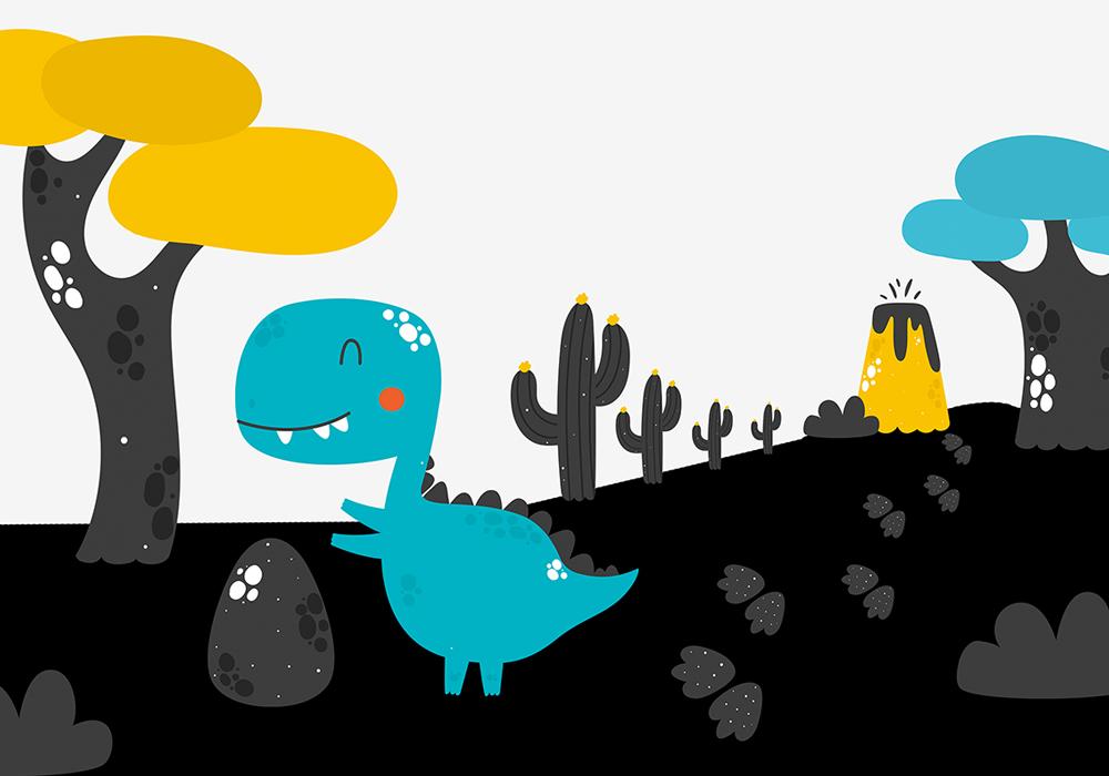 miętowy dinozaur na tapecie na ścianę