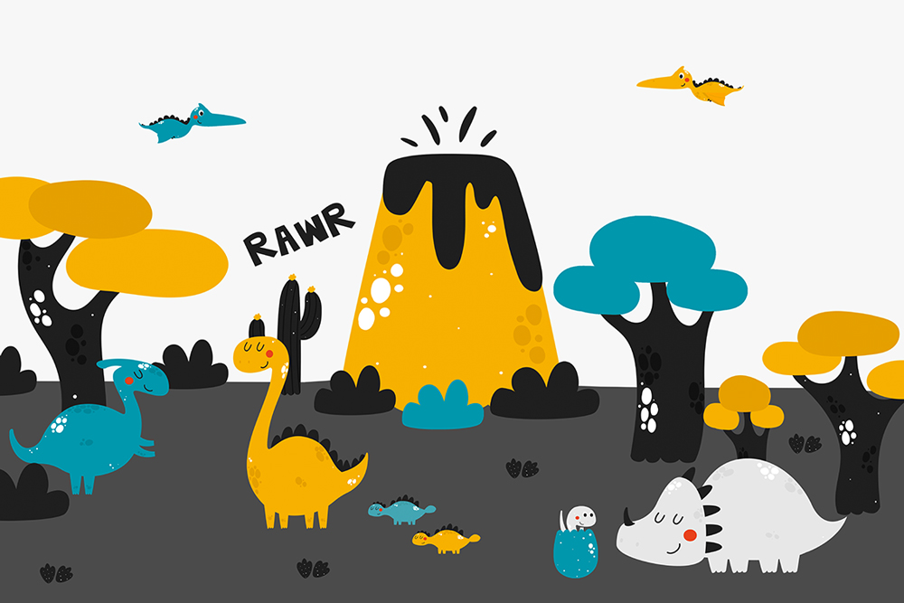 kolorowe dinozaury na tapecie na ścianę
