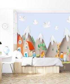 fototapeta z motywem kolorowego miasteczka do pokoju dziecka