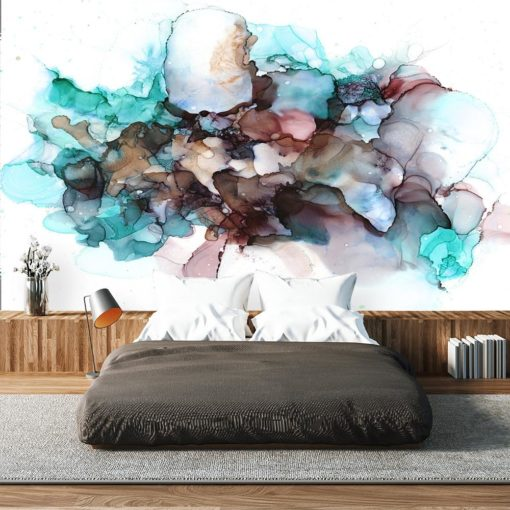 fototapeta sypialniana z kolorową abstrakcją