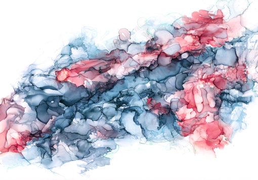 fototapeta z niebiesko-czerwonymi plamami