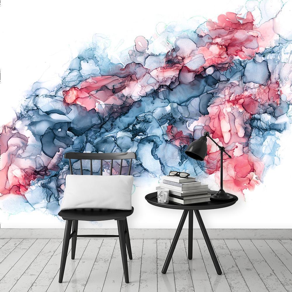 niebiesko-czerwona fototapeta do salonu