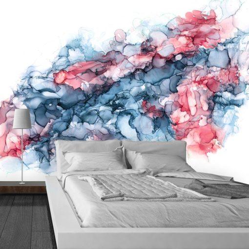 fototapeta sypialniana z kolorowymi plamami
