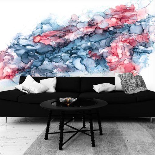 niebiesko-czerwona fototapeta z abstrakcją