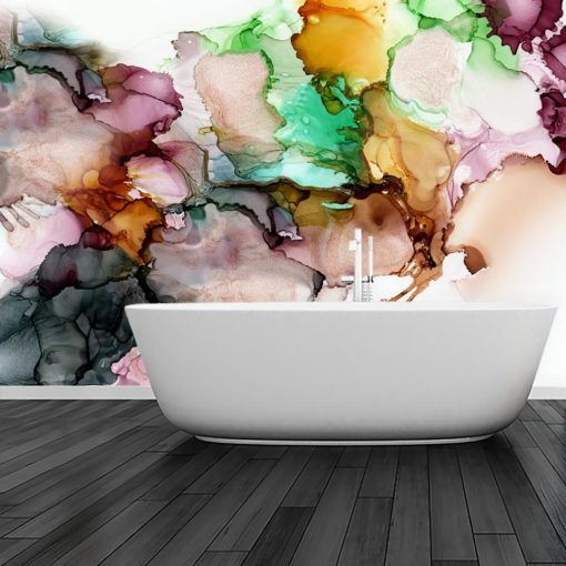 fototapeta do łazienki z kolorowymi elementami