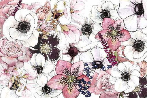tapeta w duże kwiaty