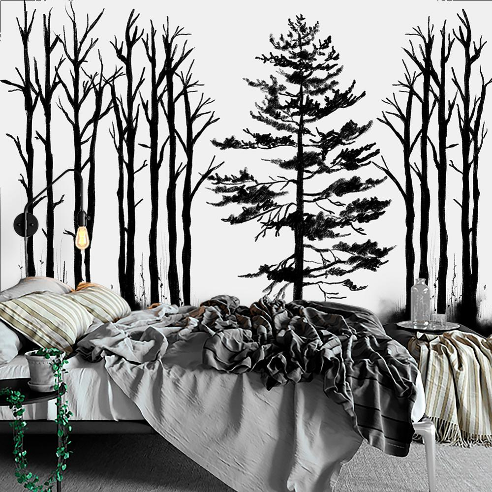 fototapeta czarno-biała drzewa